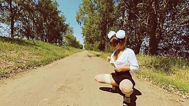 Schoolgirl with pretty ass got lost. POV amateur outdoor cum in mouth