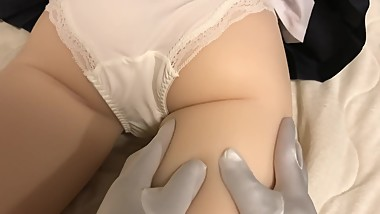 Japanese Teen School Girl Sex Doll Rub the Boobs and Butt