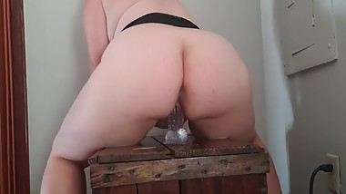 Blonde Teen BBW Rides Dildo When Daddy's Not Home - Luci Lynn