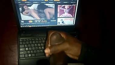 Jerking off to my lesbian step mom's porn video