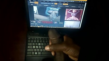 Jerking off to my step sister's solo sex video. I messed up on my laptop
