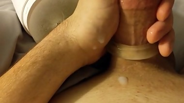 POV Teen plays with c-ring and Fleshlight.
