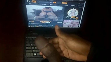 Jerking off to my step mom's porn video; She was riding dick