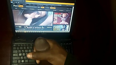 Jerking off to my slut step sister's threesome hardcore sex