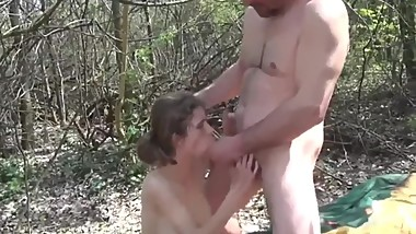 Hairy stepdaughter with big boobs loves her daddy in the woods