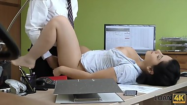 LOAN4K. Naughty agent tells adorable girl that she cant get credit