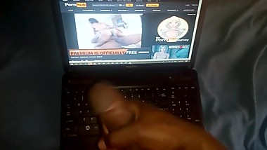 Jerking off to to my step mom's porn video; Juicy cock complication