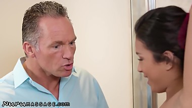 NuruMassage Autumn Falls Shows Techniques to Step-Uncle!
