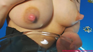 Sexiest young mom milking her big tits and showing her petite body