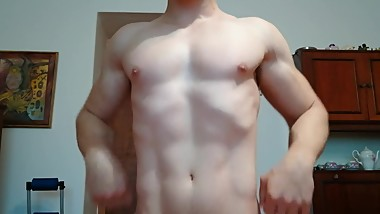 Czech Muscle Teen Sebastian Oils His Hot Body in White Briefs and Flexes