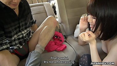 Japanese babe, Sena Sakura sucks cock in the car, uncensored