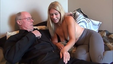 70yo daddy seduces and fucks his 18yo daughter with big boobs
