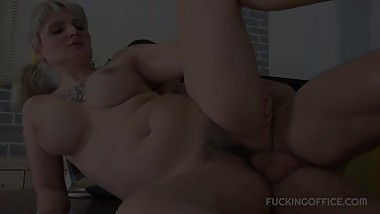Busty secretary fucked right after work