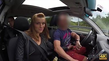 HUNT4K. Hottie has crazy sex for money in the strangers car