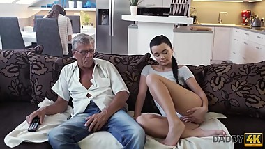 DADDY4K. Raven-haired angelface is ready for old and young experience
