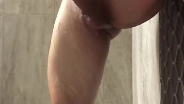 Muscular and big cock jerking in the shower