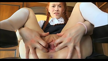 Ginger Babe Masturbating With A Massive Dildo