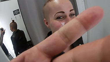 Blowjob in changing room and cumwalk of fame trought shopping mall,PUBLIC!