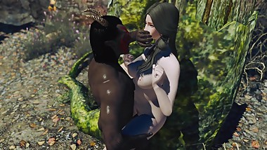 Dremora fucks a cute young nord in the forest