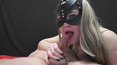 Cum in mouth girl in mask