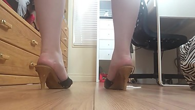 High Heels Walking Naked Thong Big Ass Small Feet