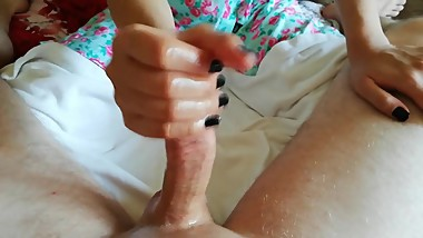 Handjob after bathroom