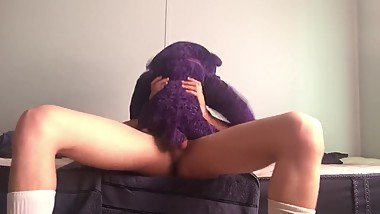 Teen with nice cock and beautiful bubble butt fucks teddy bear.
