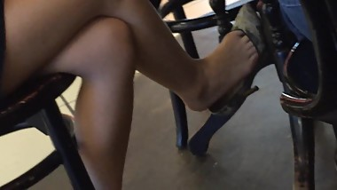 Asian girl extreme dangling grey heels