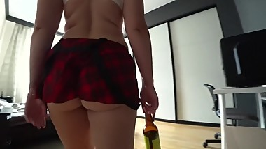 Schoolgirl woke up after a party when her boyfriend fucked
