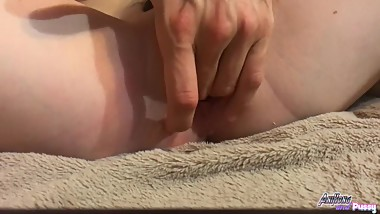 Juicy young pussy cums brightly twice from masturbation