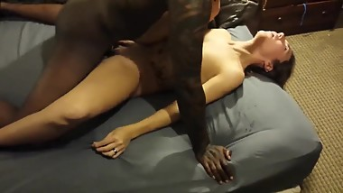 Boyfriend cuckold films his crazy girlfriend enjoying black cock