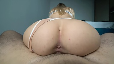 Try not to cum inside my tight pussy challenge - reverse cowgirl creampie