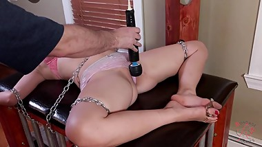Chubby Goth girl is put in predicament bondage and denied orgasms.