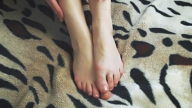 Close Up Teen Toes Rubbing Tease