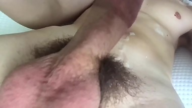 Stud jerking off cum onto abs