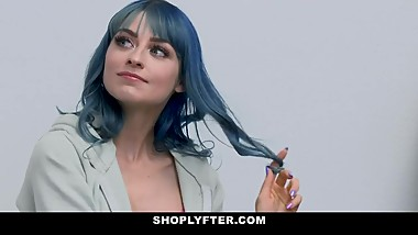 ShopLyfter - Blue Hair Teen Gets Filled Up With Cum By Security