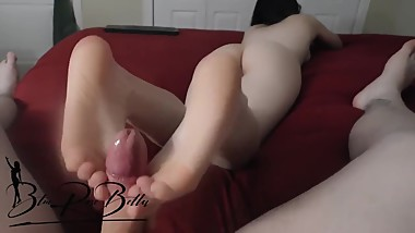Footjob Ends With Cum Covered Toes
