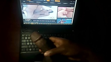 Jerking off to ebony step mom's hardcore sex video