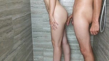 Shower Fuck with Teen Step Sister, Keep Fucking After I Cum!