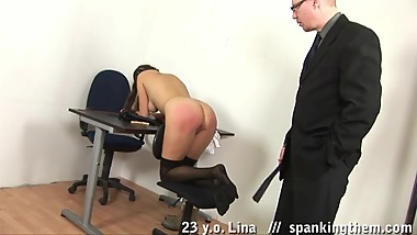 Schoolgirl gets handcuffed, spanked and toyed
