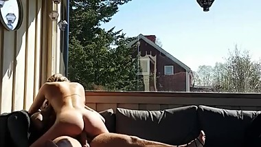 Outdoor sex Fucking me on the balcony and cums on my back
