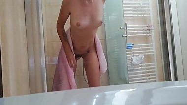 Spy voyager on sexy Hairy girls hot shower in the hotel during vacation
